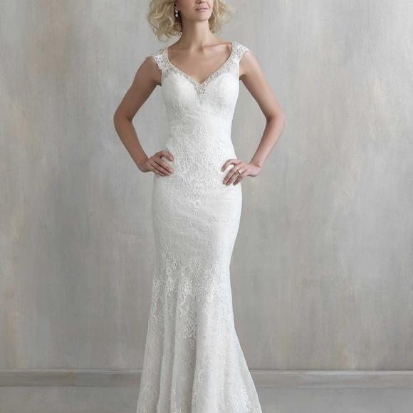 Madison James Dresses | Sheath Lace Cap Sleeve Wedding Dress | Poshmark